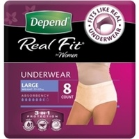 Depend Real Fit Underwear for Women Large 8's
