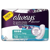 Always Discreet Long Pads 10's