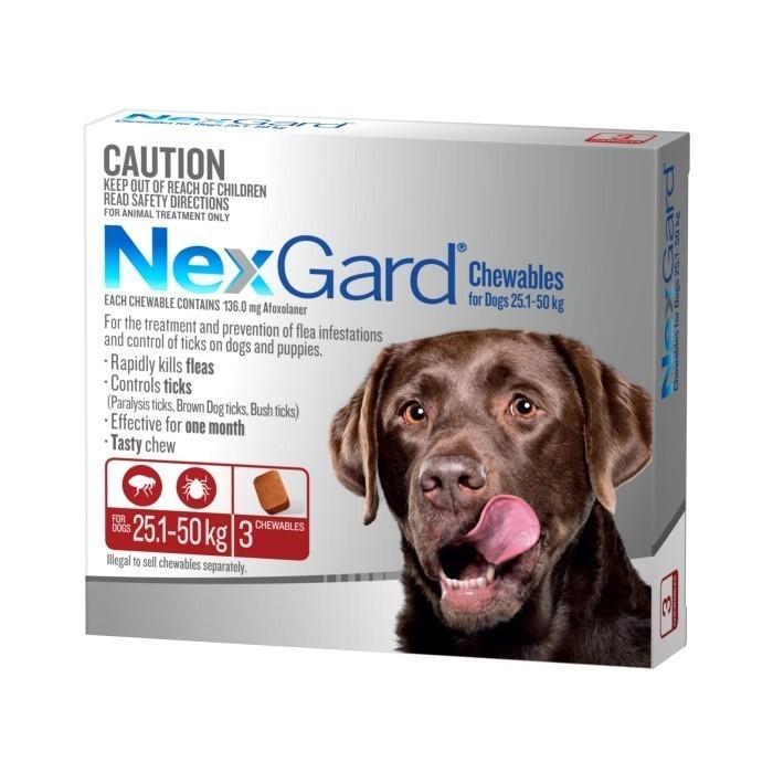 Nexgard Chews Flea And Tick Xlarge 25 50 Kg Chews Merial