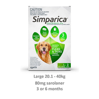 SIMPARICA 20.1-40KG 80MG LARGE DOG GREEN
